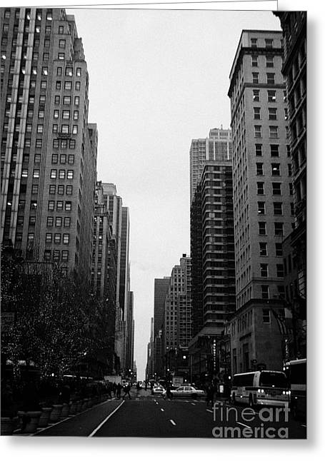 View Up 6th Ave Avenue Of The Americas From Herald Square In The Evening New York City Winter Greeting Card