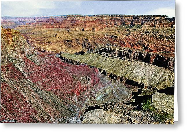 View West Grand Canyon Greeting Card by Bob and Nadine Johnston