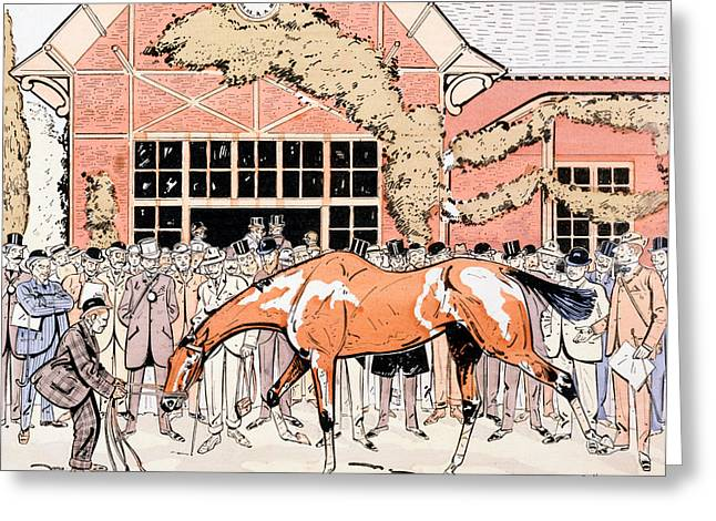 Viewing The Racehorse In The Paddock Greeting Card by Thelem
