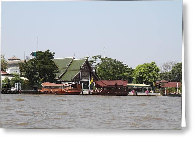 Views From A River Boat Taxi In Bangkok Thailand - 01139 Greeting Card