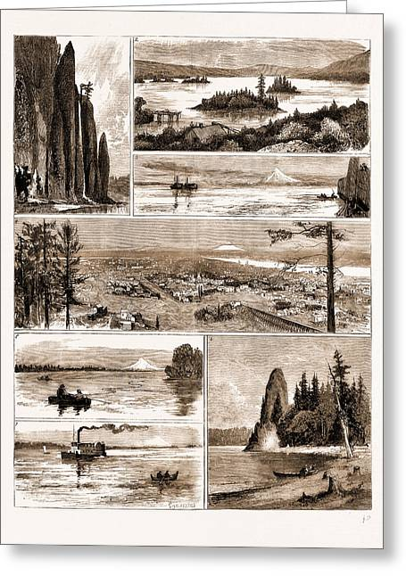 Views On The Northern Pacific Railway, U.s.a., U.s., Us Greeting Card by Litz Collection
