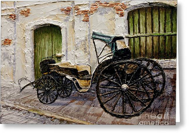Greeting Card featuring the painting Vigan Carriage 2 by Joey Agbayani