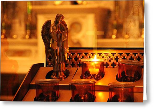 Vigil Light For Virgin Mary Greeting Card by Dan Sproul