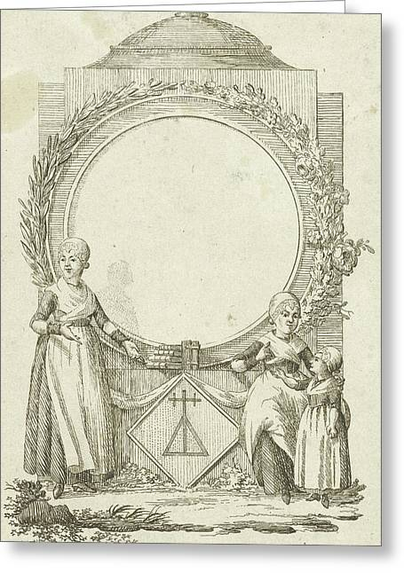Vignette With Women And Girl With Medallion Greeting Card by Rienk Jelgerhuis