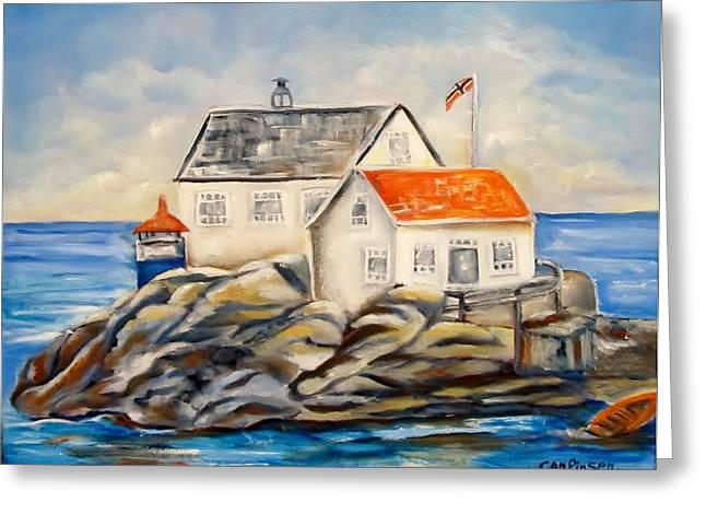 Vikeholmen Lighthouse II Greeting Card by Carol Allen Anfinsen