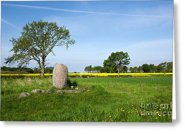 Greeting Card featuring the photograph Viking Age Runic Stone by Kennerth and Birgitta Kullman