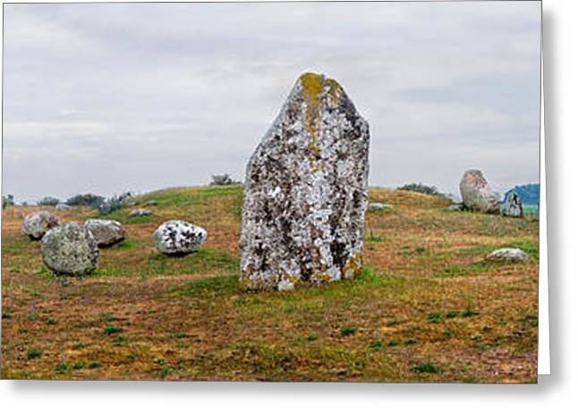 Viking Burial Site And Wooden Windmill Greeting Card by Panoramic Images