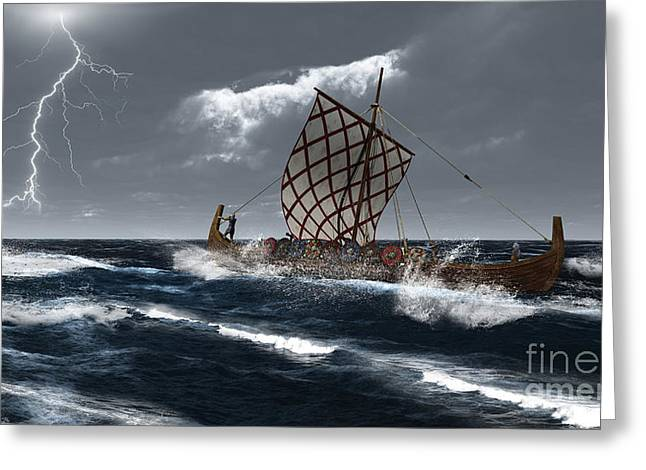 Viking Longship In A Storm Greeting Card by Fairy Fantasies