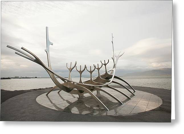 Viking Ship Sculpture Greeting Card by Ashley Cooper