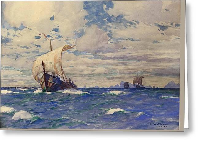 Viking Ships At Sea Greeting Card by Pg Reproductions