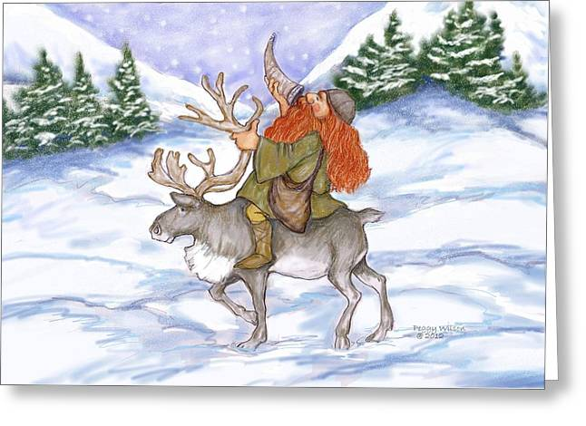 Viking With Reindeer Greeting Card by Peggy Wilson
