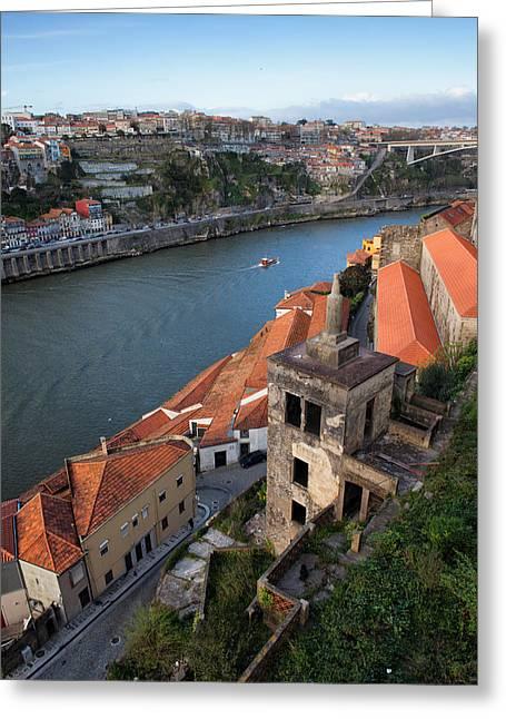 Vila Nova De Gaia And Porto In Portugal Greeting Card by Artur Bogacki