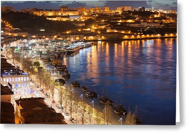 Vila Nova De Gaia By Night In Portugal Greeting Card