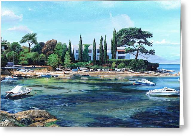 Villa And Boats, South Of France Oil On Canvas Greeting Card by Trevor Neal