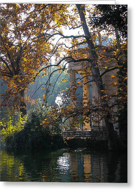 Greeting Card featuring the photograph Villa Borghese Park by Glenn DiPaola