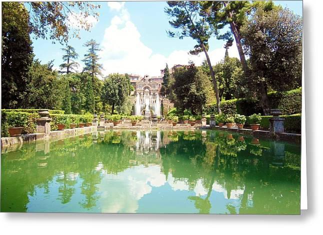 Villa Este Reflections Greeting Card by Marilyn Dunlap