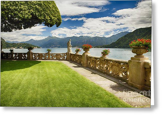 Villa Garden View On Lake Como Greeting Card by George Oze