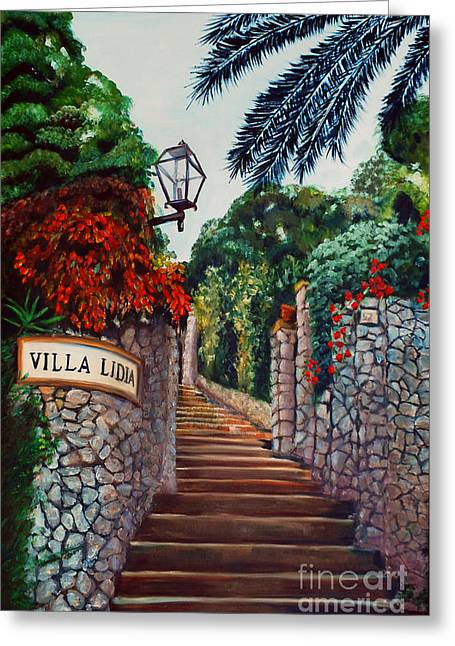 Villa Lidia Greeting Card by Nancy Bradley