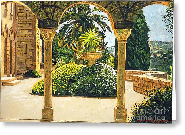 Villa On The Riviera Greeting Card by David Lloyd Glover