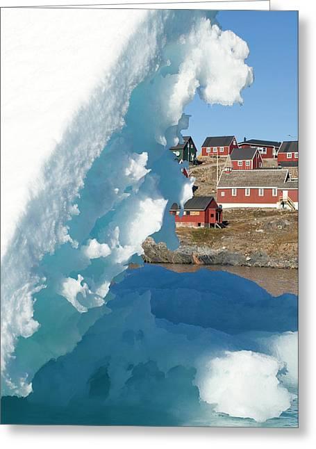 Village And Iceberg, Ittoqqortoormiit Greeting Card by Daisy Gilardini