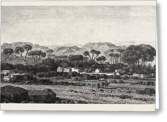 Village Between Assouan And Philae Greeting Card by Litz Collection