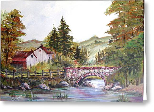 Greeting Card featuring the painting Village Bridge by Dorothy Maier