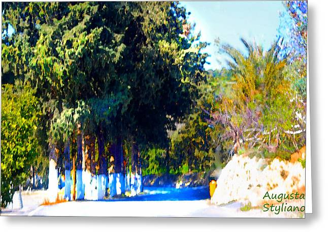 Village Entrance Greeting Card by Augusta Stylianou