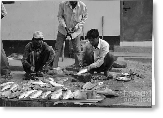 Village Fish Market 1 Greeting Card by Bobby Mandal