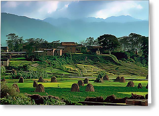 Village In Nepal Greeting Card by Wernher Krutein
