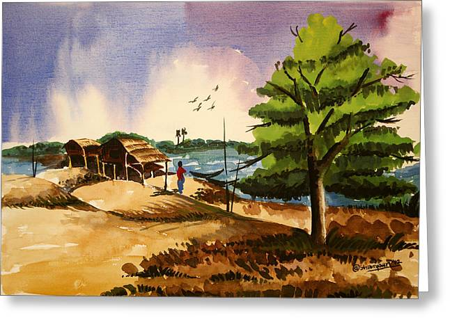 Village Landscape Of Bangladesh 2 Greeting Card by Shakhenabat Kasana