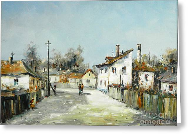 Village Lane Greeting Card by Petrica Sincu
