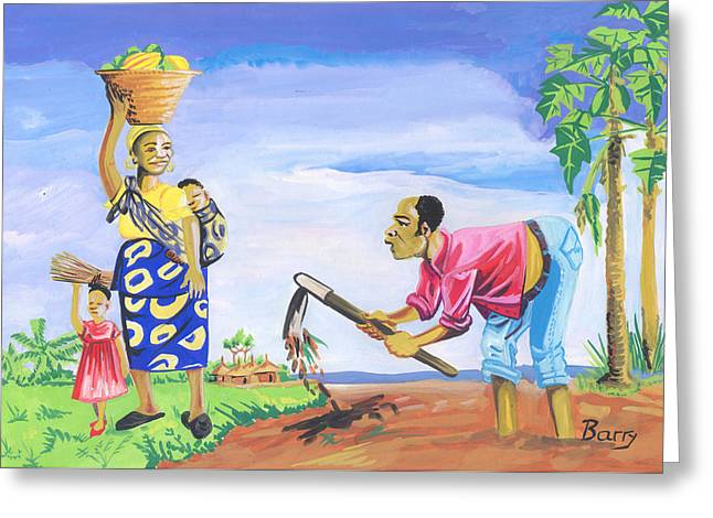 Greeting Card featuring the painting Village Life In Cameroon 01 by Emmanuel Baliyanga