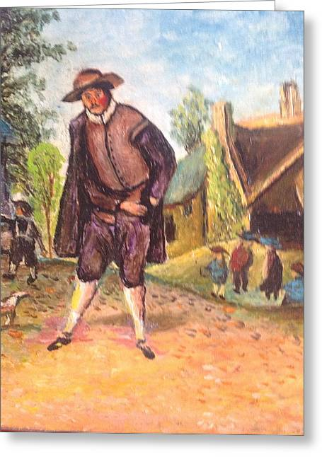 Greeting Card featuring the painting Village Man  by Egidio Graziani