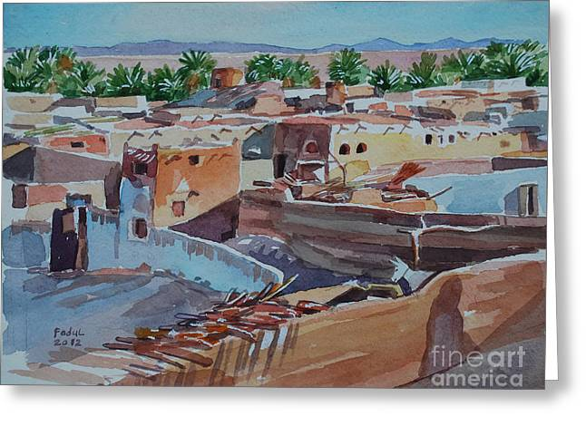 Village Greeting Card by Mohamed Fadul