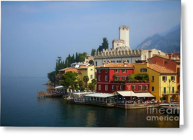 Village Near The Water With Alps In The Background  Greeting Card