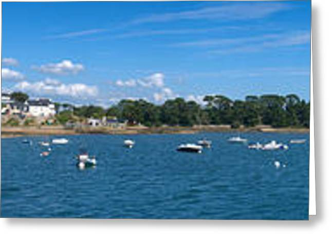 Village Of Larmor-baden, Gulf Of Greeting Card by Panoramic Images