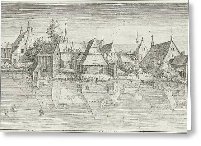Village On A River, Hendrick Hondius Greeting Card