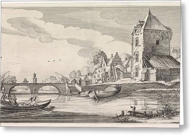 Village On A River, Jan Van De Velde II Greeting Card