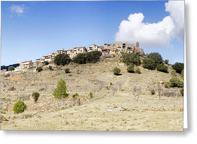Village On Mountain, Ballestar Greeting Card by Panoramic Images