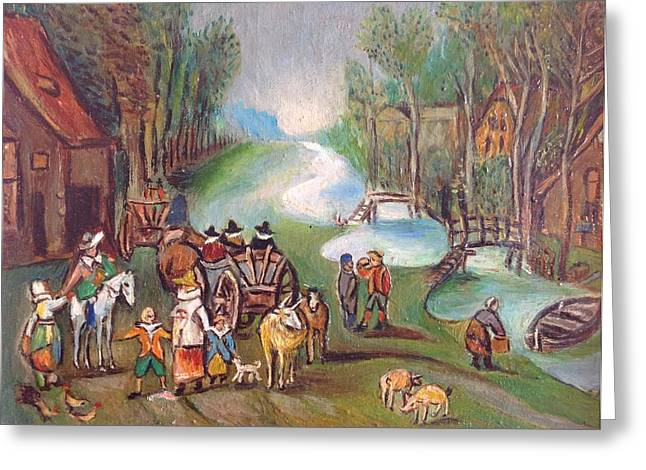 Village Scene Greeting Card by Egidio Graziani