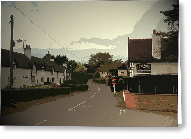 Village Scene In Ednaston, The Yew Tree Public House Greeting Card by Litz Collection