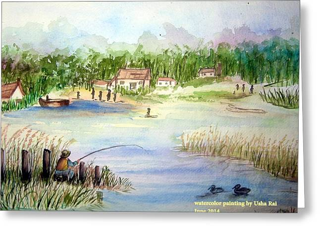 Village Scene Greeting Card by Usha Rai