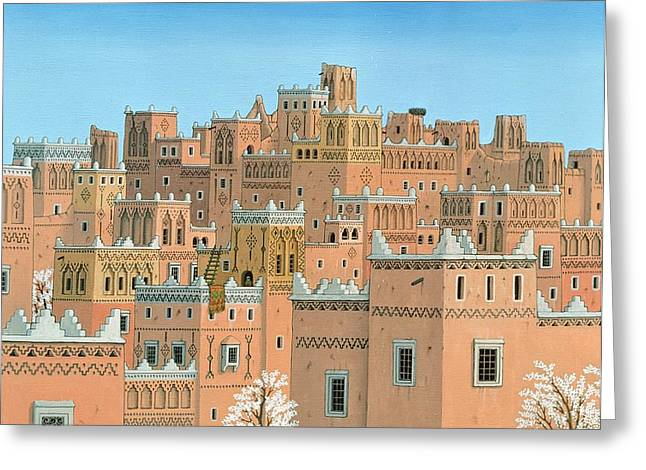 Village, Southern Morocco, 1998 Acrylic On Linen Greeting Card