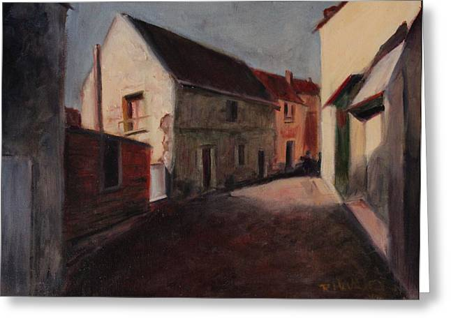 Greeting Card featuring the painting Village Street by Rosemarie Hakim