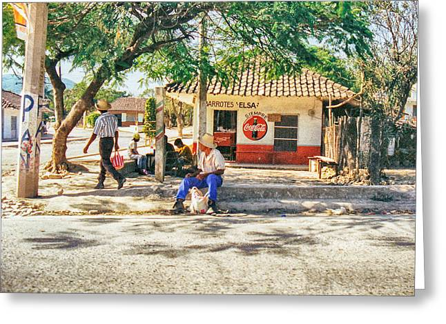 Village Street Scene Greeting Card