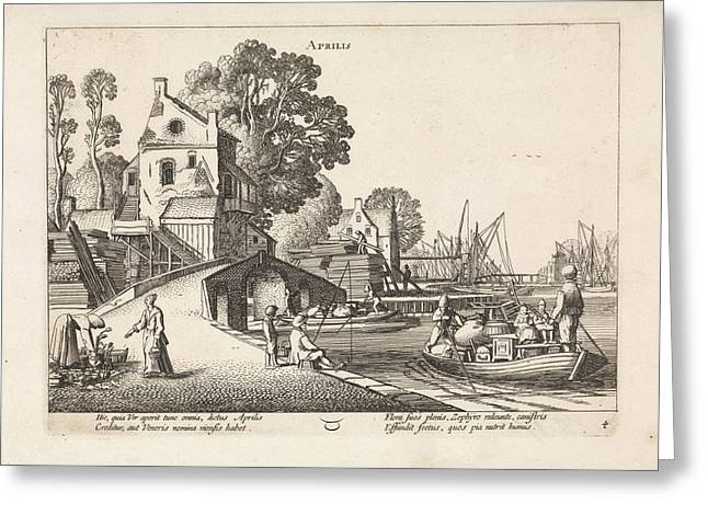 Village View With Activity On The Water April Greeting Card