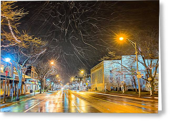 Village Winter Dream Greeting Card by Chris Bordeleau