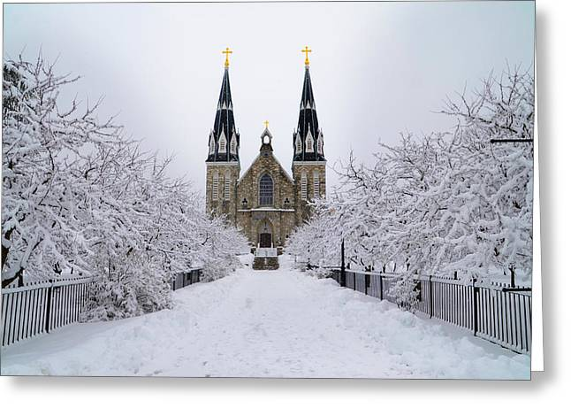 Villanova University In The Snow Greeting Card by Bill Cannon