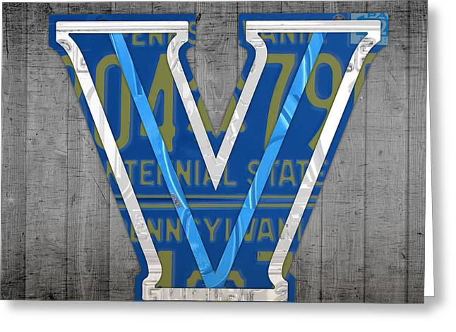 Villanova Wildcats College Sports Team Retro Vintage Recycled Pennsylvania License Plate Art Greeting Card by Design Turnpike