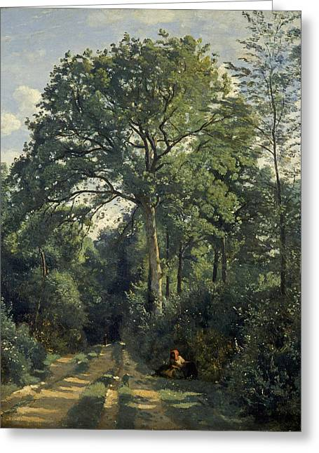 Ville Davray Entrance To The Wood, C.1825, Oil On Canvas Greeting Card by Jean Baptiste Camille Corot